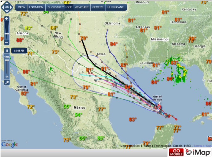 Tropical Storm Don in iMap on iMapWeather.com